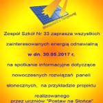 """Zaproszenie na spotkanie dotyczące projektu """"Postaw na Słońce"""""""