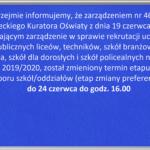 Przesunięcie terminu zmiany preferencji w naborze na rok szkolny 2019/2020