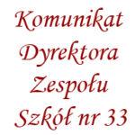 Komunikat Dyrektora z 27.11.2020r.